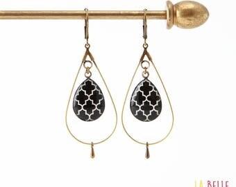 drop hoop earrings resin black pattern
