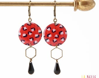 Resinees earrings round Hexagon red floral pattern