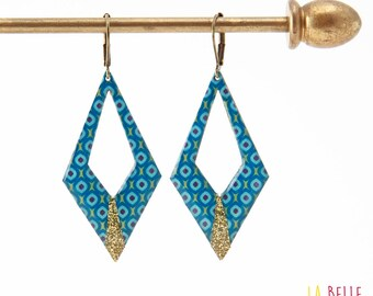 Argyle pattern vintage blue and glitter resin earrings