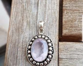 Action! Silver chain 75 cm with Rose Quartz pendant 20Fr. instead of 50Fr