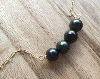 Petite Tahitian Pearl Bar Necklace