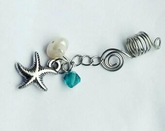 Loc Jewelry- Seaside Trinkets Hair jewelry - Silver Hair jewelry- Hair Jewelry For Locs, Twists And Braids- Hair Accessories - Dread Cuff-