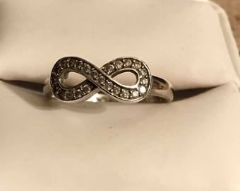 Sterling Silver White Topaz Infinity Ring Size 8