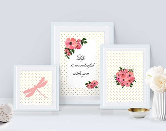 Set of 3 Printable wall art set Digital Prints dragonfly, flowers and quote
