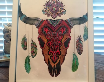 TATTOO COLLECTION *Bull Head* Wall art/Decor with COSTUMIZED frame color
