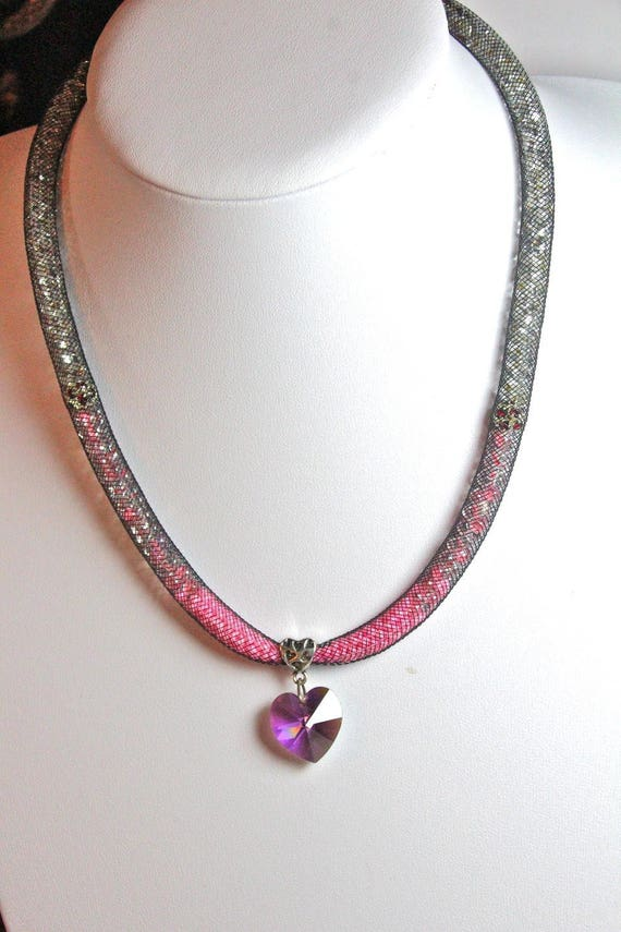 Mesh neon and silver necklace SWAROVSKI heart