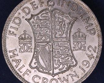 GENUINE 1942 George VI KGVI 50% Silver Half Crown  2/6 excellent coin *[11879]