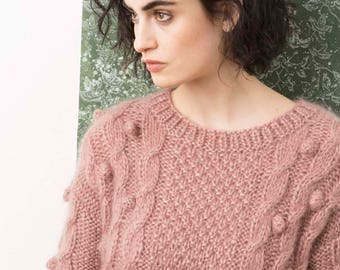 Chunky sweater luxury mohair * handknitted * with cables and Bobbles