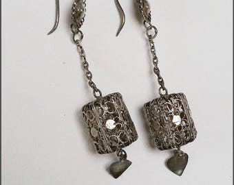A pair of Chinese Export dangle silver earrings