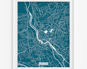 Exeter Map, England Poster, Exeter Poster, England Map, Exeter Print, United Kingdom Map, Street Map, Room Decor, Valentines Day Gift