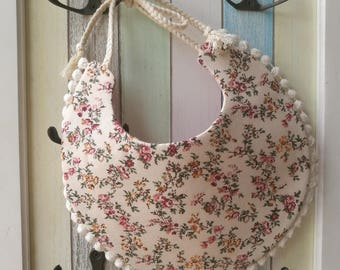 Reversible Pink Floral Cotton Lace Baby Bib