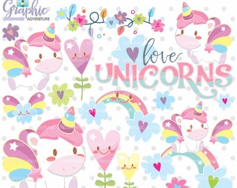 75%OFF - Unicorn Clipart, Unicorn Graphics, COMMERCIAL USE, Kawaii Clipart, Clip Art, Planner Accessories, Rainbow Clipart, Rainbow Graphic