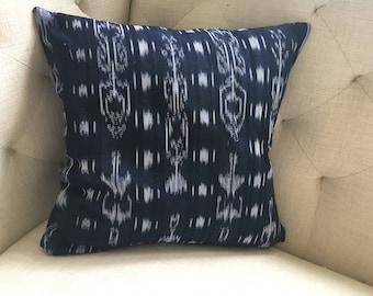 """Guatemalan Indigo Ikat Pillow Cover, 16"""" x 16"""""""