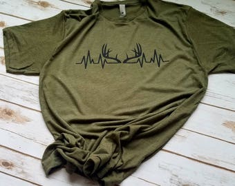 Deer Antler Heartbeat Shirt - Hunting Shirts - Mens hunting shirt - Mens t-shirt - Deer antler shirt - Christmas Gifts for Men