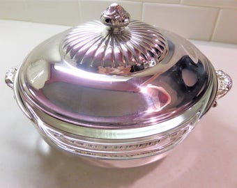 Vintage Silver Plate Covered Casserole Dish Pyrex Glass Casserole Pilgrim Silver Plate 1 1/2 qt Pyrex Glass Insert