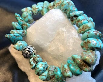 Genuine Turquoise Chunky Stretch Bracelet
