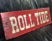 Alabama Roll Tide | College Football Sign | Alabama Crimson Tide | Distressed Wood Handmade | Boys Decor | Man Cave | Football