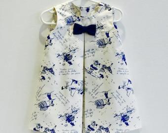 Trapeze dress sleeveless cotton breton pattern size 2-3 years