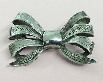 Vintage Stirling Silver Bow Brooch Pin - 1969