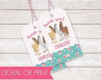 Horse Party Favor Tags, Birthday Thank You Tags, Printable Favor Tags, Printed Favor Tags, Custom Thank You Tags, Personalized Party Tags