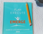 2018 Emerge Leadership Sales Planner   direct sales   agenda   dated   weekly   monthly   business   spiral   team   inspirational   teal