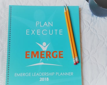 2018 Emerge Leadership Sales Planner | direct sales | agenda | dated | weekly | monthly | business | spiral | team | inspirational | teal