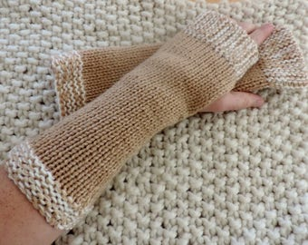 Fingerless gloves long beige / camel