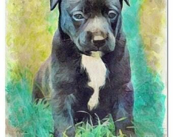 Doggie watercolor painting art print