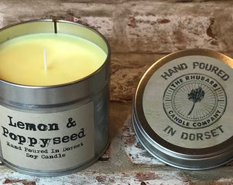 Lemon & Poppyseed  Hand Poured Soy Wax Candle With Cotton wick. Made in Dorset
