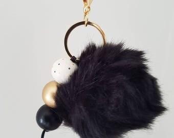 Black Fluffy Wooden Bead Keyring