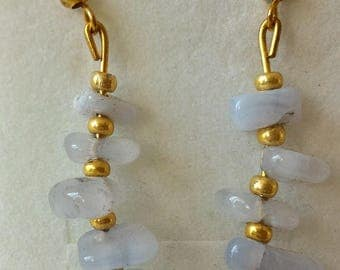 Blue chalcedony earrings, pearls chips and golden color seed beads.