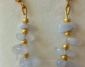 Chips blue chalcedony earrings