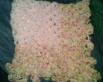 Crocheted Baby Blanket- Baby pink and variegated