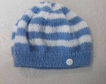 BRIGHT blue baby hat size 3 months