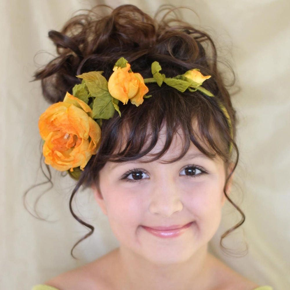 Yellow Roses Flower Crown Floral Hair Wreath Natural Silk Flowers