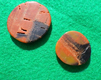 Petrified Wood set of two (one large, one small) golf ball markers