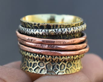 Meditation rings   Ethnic brass jewelry ring   Birthday gift for mother   Indian wide band spinner rings   Tribal spinning jewelry   R239