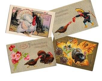 Antique Embossed Thanksgiving Postcards, Unmailed unused, Turkeys