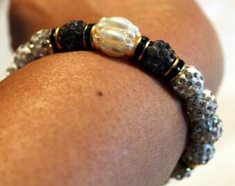Cute Czech crystal disco-ball rhinestone-beaded shamballa bracelet with tassel; white, black, beautiful, handmade, beadweaving