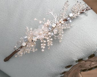 Pearl and crystal headdress/opal headdress/bridal headdress/bridal headpiece/grecian style headdress/something blue/bridal accessories