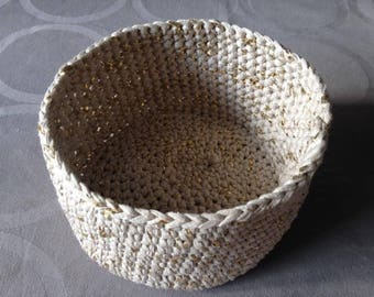 Beige and gold crochet basket
