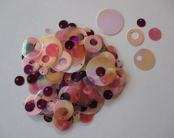 Sequin, sewing or craft, assorted color degrade pink and purple.