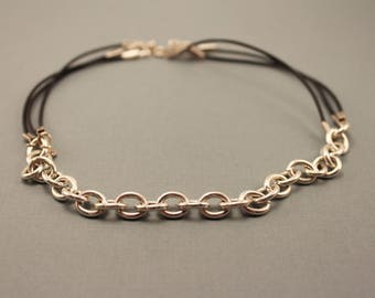 Black Leather and Silver Chain Choker