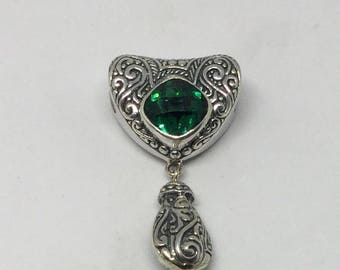 sterling silver green quartz pendent