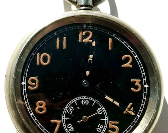 WW2 military issue black dial Moeris observer's pocket watch
