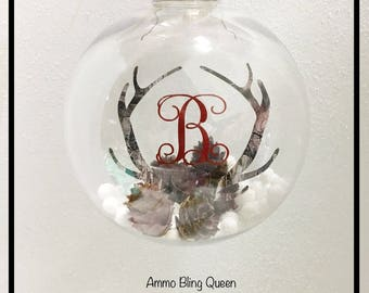 Camo Antler  Christmas Tree Ornament Personalized With Your initial
