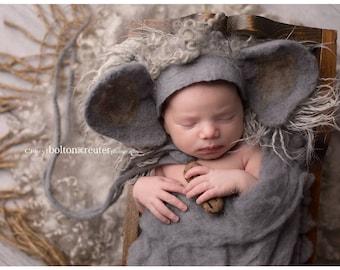 Newborn felted elephant bonnet