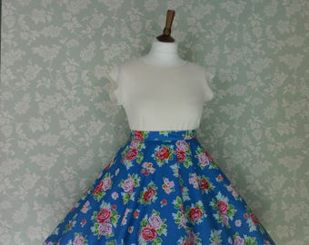 Blue & red floral circle skirt