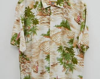 Mc GREGOR Shirt Vintage Mc Gregor Sportswear Island Coconut Tree Theme All Over Print Made In Japan Button Down Hawaiian Shirt Size L