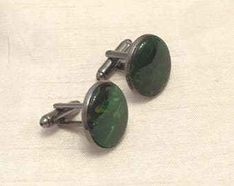 Handmade cufflinks gunmetal green acrylic insert